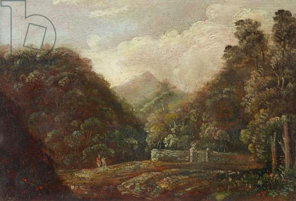 Wooded and Hilly Landscape with Two Figures by a Stone Wall with a Gate