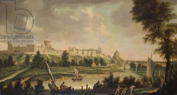 View of Windsor Castle from the River Thames (oil on canvas)
