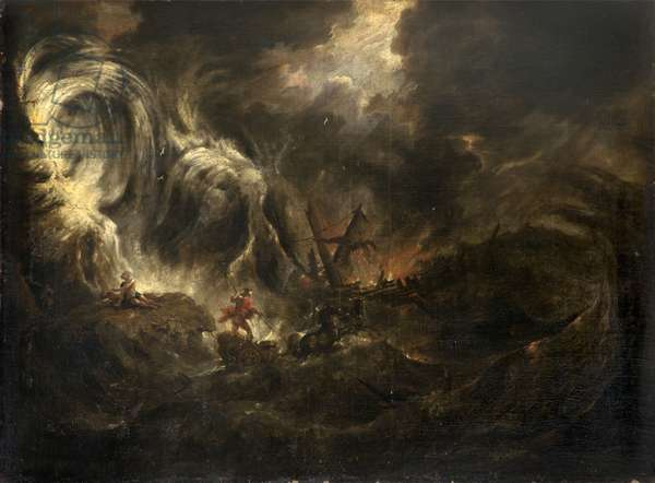 Storm at Sea with Neptune in his Chariot (and Ulysses Cast away on a Rock?)