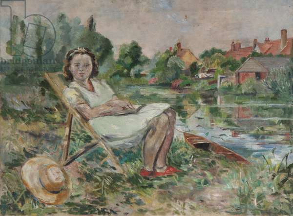 Girl in a Deckchair by a Riverbank (oil on canvas)