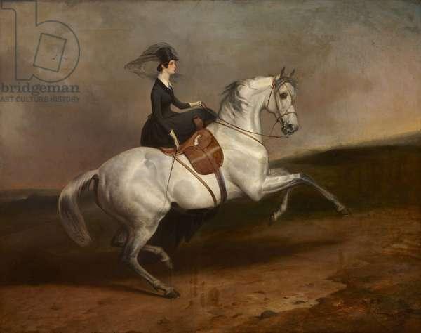 Lady Alexandrina Octavia Maria Vane, Countess of Portarlington (1823-1874) on a White Horse