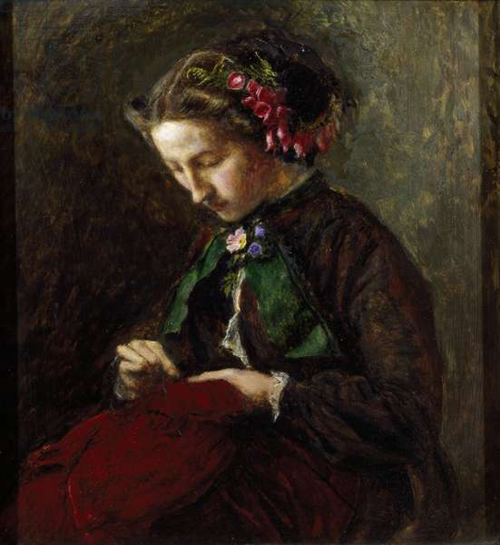 Euphemia 'Effie' Chalmers Gray, Mrs John Ruskin (1828-1898), later Lady Millais, with Foxgloves in her Hair (The Foxglove)