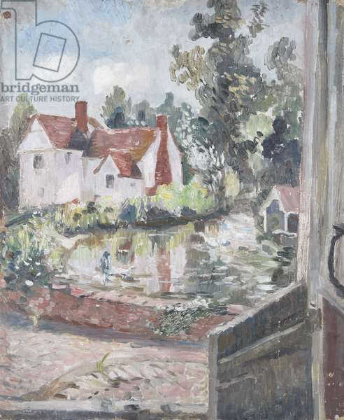 A Cottage by a Mill-pond (oil on board)
