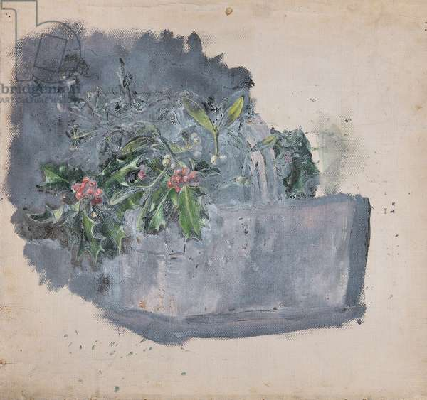 Still Life of Holly and Mistletoe (from a portfolio of oil sketches), c.1913 (oil on millboard)