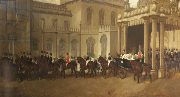 HRH Albert Edward, Prince of Wales (later King Edward VII), in a Carriage Procession at Brighton Pavilion