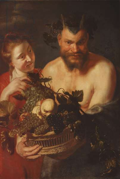 A Bacchante with a Satyr holding a Basket of Fruit