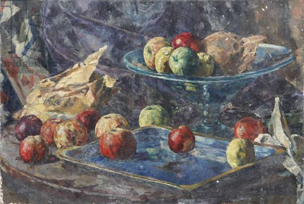Still Life of Apples and a Bowl in a Tray (oil on canvas)