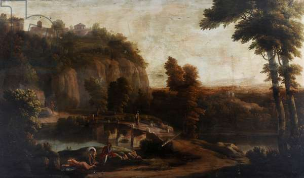 A Hilly Landscape with a Bridge over a River and Figures in the Foreground