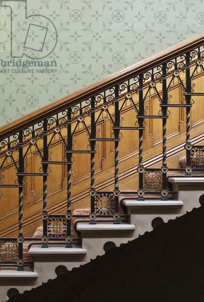 Detail of the wrought iron banister of the stairs, Tyntesfield, Wraxall (photo)