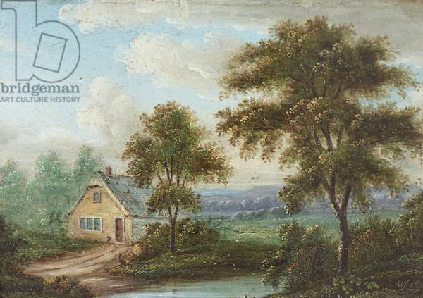 A Cottage with a Stream and Trees