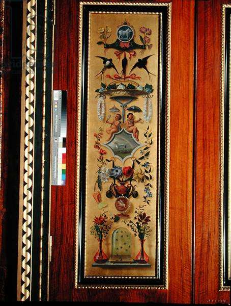 April: One of twelve door panels representing the months of the year, in the Spanish Room, mid-19th Century (painted wood)