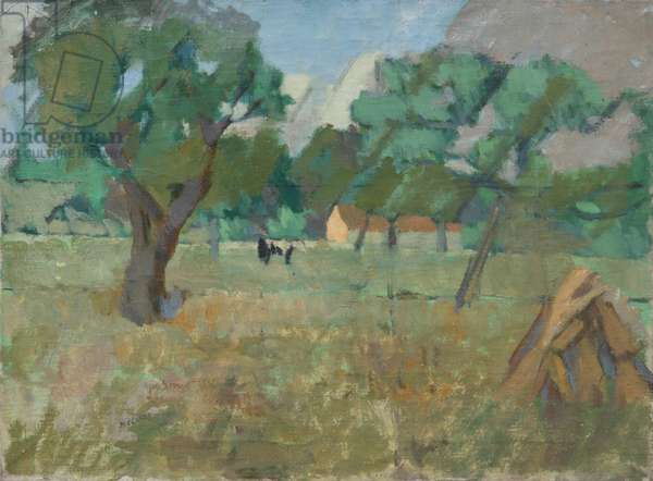 A View of a Field with Trees and a Cow