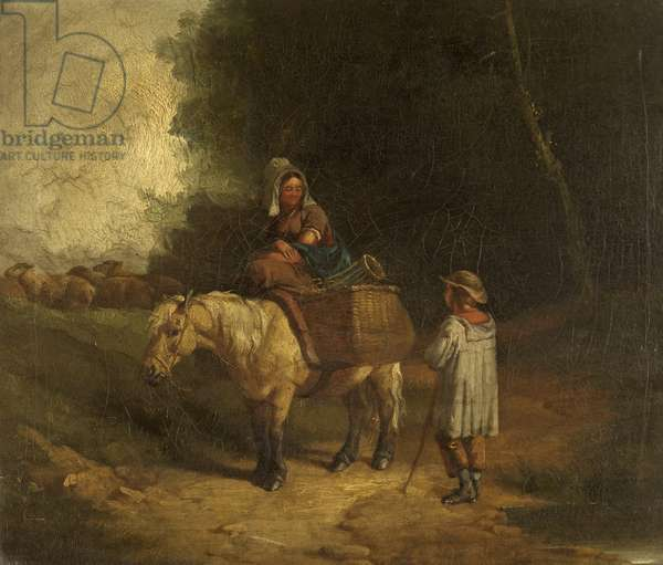Peasant Girl returning from Market, conversing with a Shepherd Boy