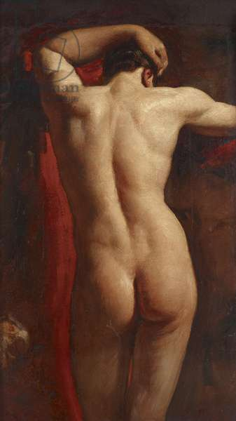 Academic Study of a Male Nude, seen from Behind