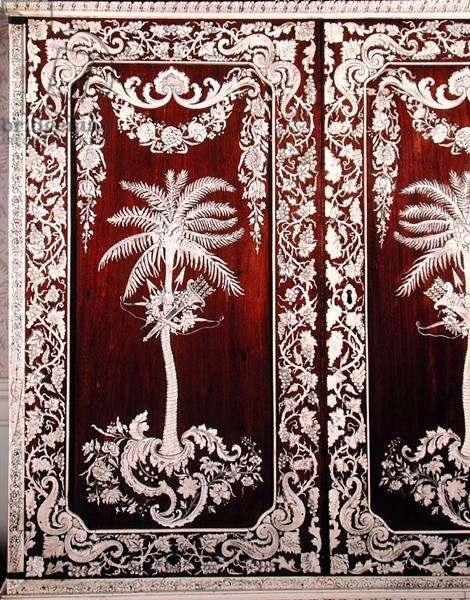 The door of an Anglo-Indian cabinet (inlaid wood)