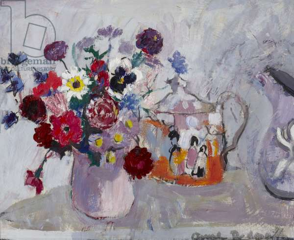 Still Life of Flowers and a Teapot (oil on board)