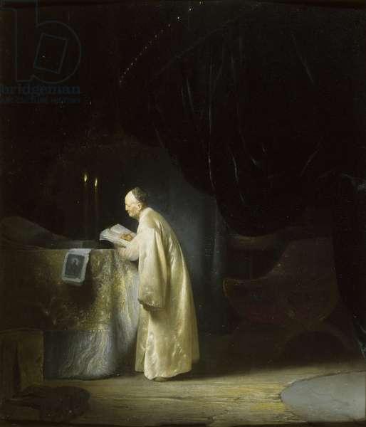 A Priest at an Altar (oil on canvas)