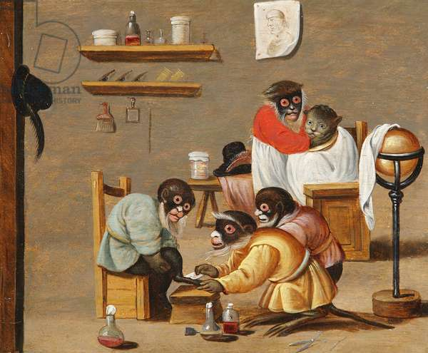 Monkey Barbers (oil on panel)