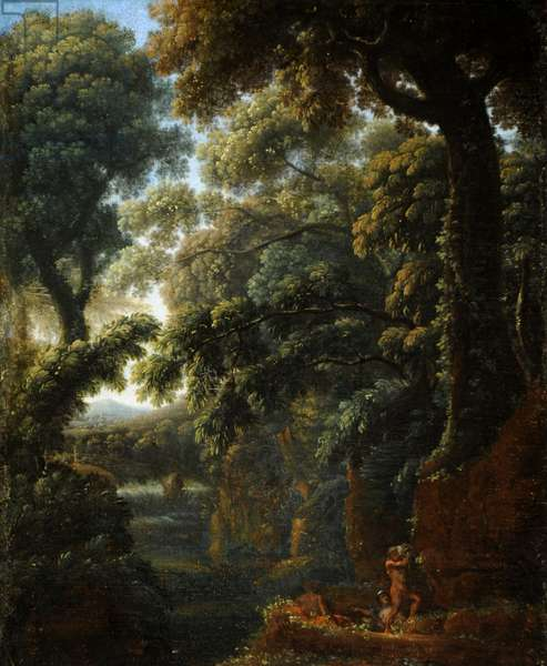 Wooded Landscape with Figures bathing by a Cascade (oil on canvas)
