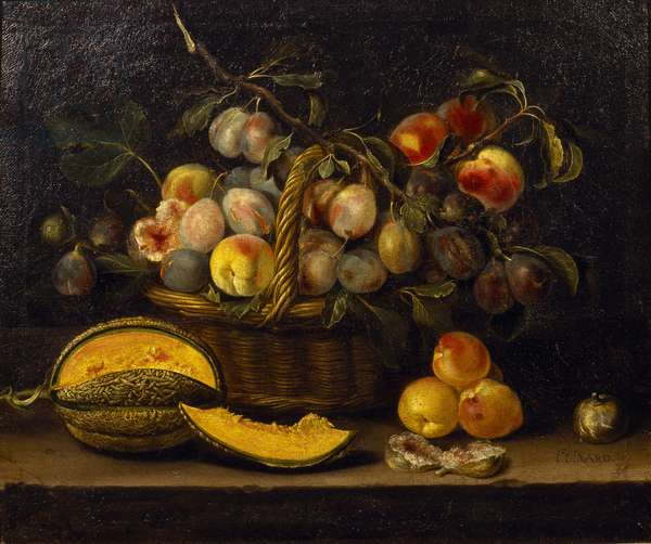 Still life with a basket of peaches and plums, 1635 (oil on canvas)