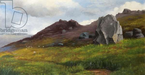 A Moorland Landscape, with Rocky Outcrop, 1891 (oil on canvas)