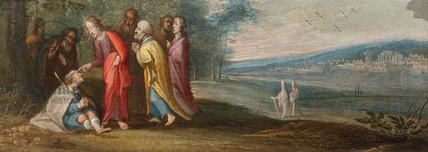 The Chirk Cabinet: Christ healing the Man Blind from Birth