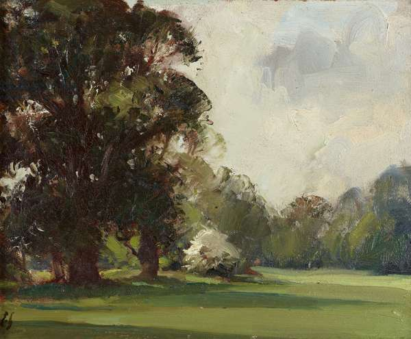 View of the Gardens at Anglesey Abbey: the South Lawn with Elm Trees (oil on board)