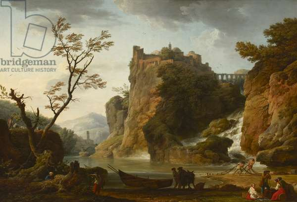 A River Landscape with a Waterfall, Castle and an Aqueduct above