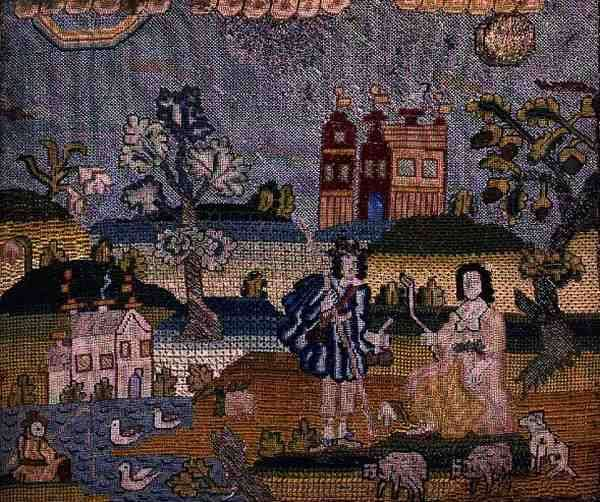 Stumpwork depicting a shepherd and shepherdess, 17th century (embroidery)