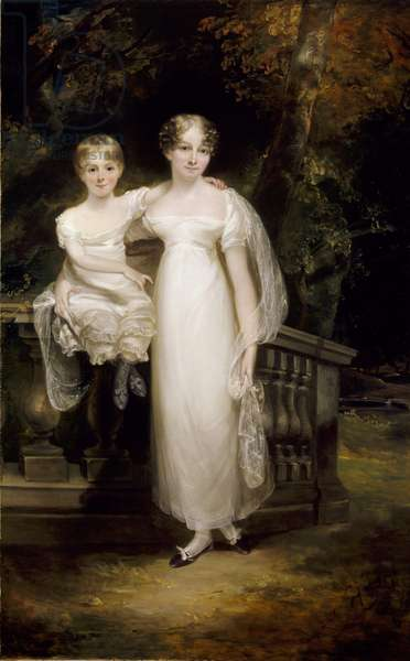 Mrs. Trafford with her daughter on a terrace (oil on canvas)
