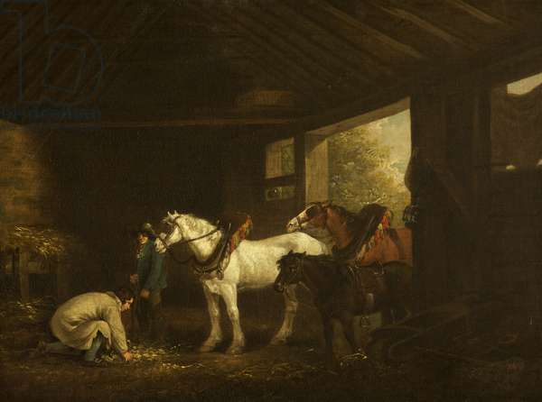 Horses and Farmhands in a Stable