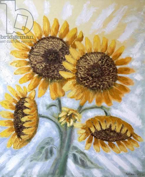 Sunflowers blushing through the Mist and Dew, 1961 (oil, acrylic & w/c on canvas)