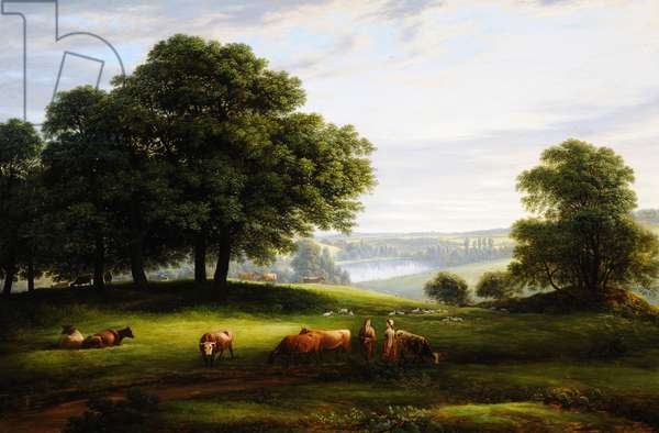 A View of Calke Park with a View of Lower Dog Kennel Pond, Figures, Cattle and Sheep