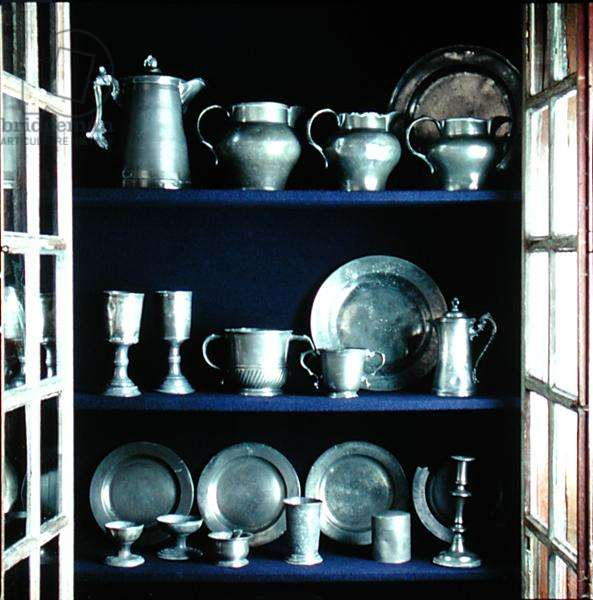 Collection of pewter ware in the Great Hall (pewter)