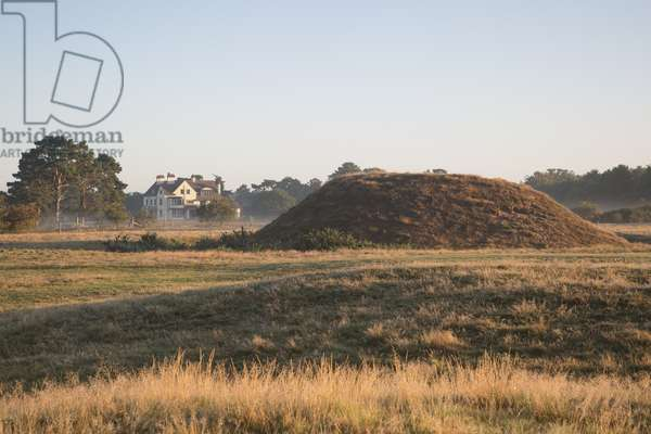 View of Tranmer House and the mound at Sutton Hoo, Suffolk (photo)