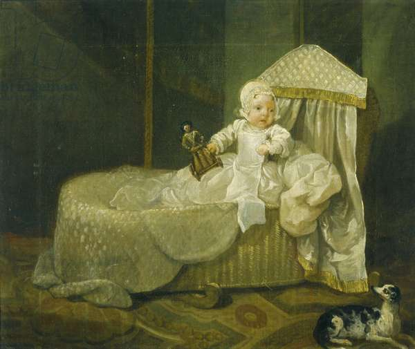 Gerard Anne Edwards in his cradle, 1733 (oil on canvas)