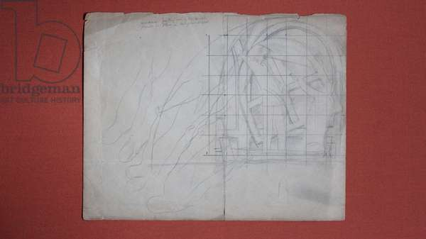 Sketch of workmen positioning an arched canvas at Sandham Memorial Chapel, 1927-28 (pencil on paper)