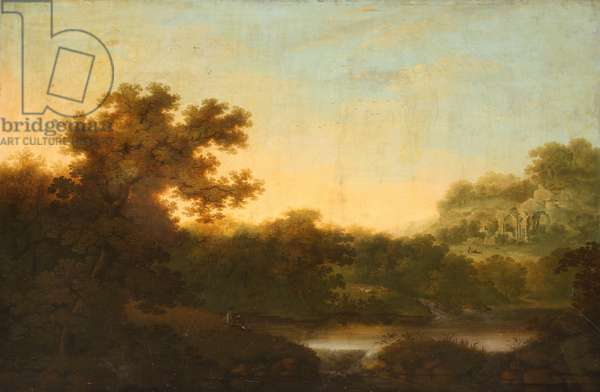 River Landscape, with Fisherman, and distant Ruins of an Abbey