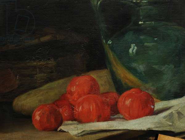 Still Life with Tomatoes by a Green Jug (oil on canvas)