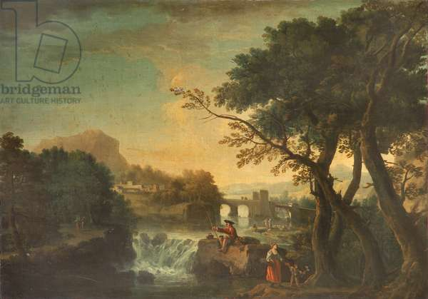 Landscape with an Angler (oil on canvas)