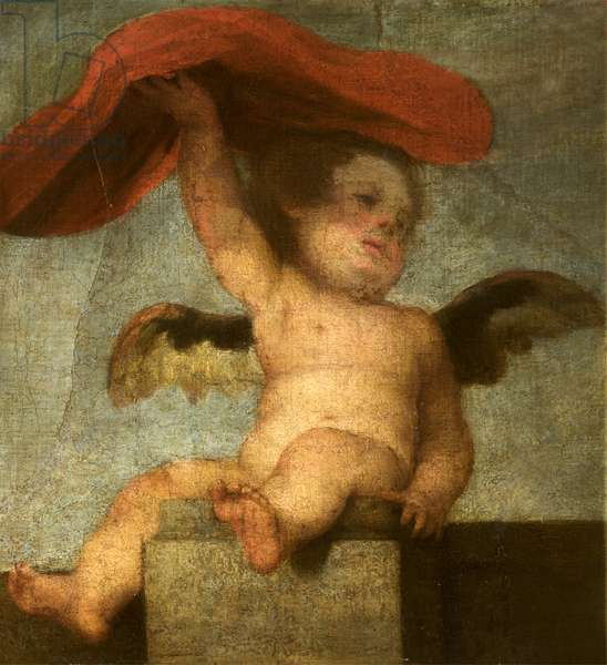 A Putto-Angel holding something red: a fragment