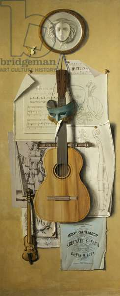 Trompe l'oeil (Music), 1950-60 (oil on canvas laid down on panel)