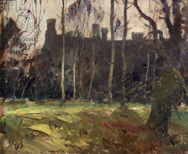 North Front of Anglesey Abbey seen through the Trees (oil on panel)