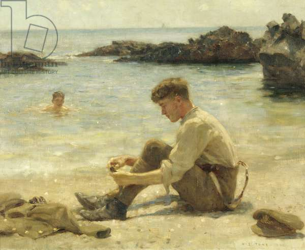 T. E. Lawrence as a cadet at Newporth Beach, near Falmouth (oil on canvas)