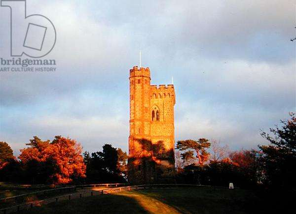 The west front of the Tower on Leith Hill Summit, in the early evening (photo)