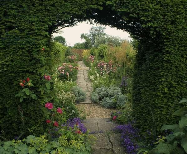 Looking west into the Kitchen Garden, from the Pool Garden, Tintinhull House Garden, Somerset (photo)