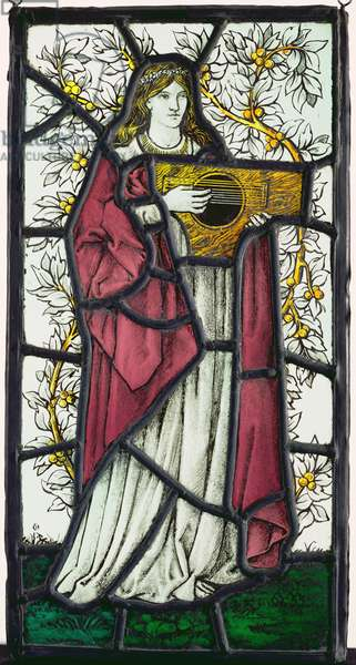 Woman playing a dulcimer (stained glass)