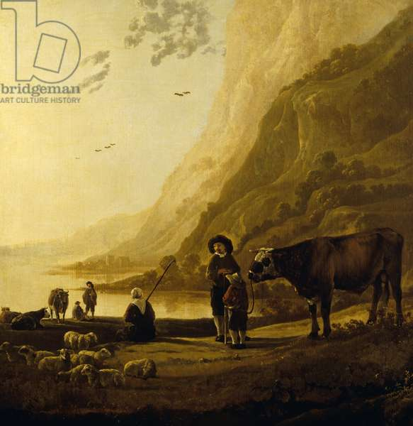Landscape with a herdsman and bull (oil on panel)