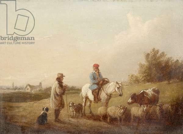 Horseman and Herdsman conversing on a Road