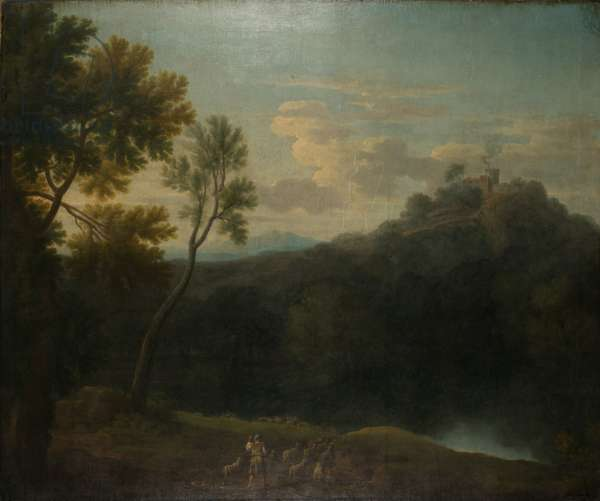Landscape with a shepherd (oil on canvas)
